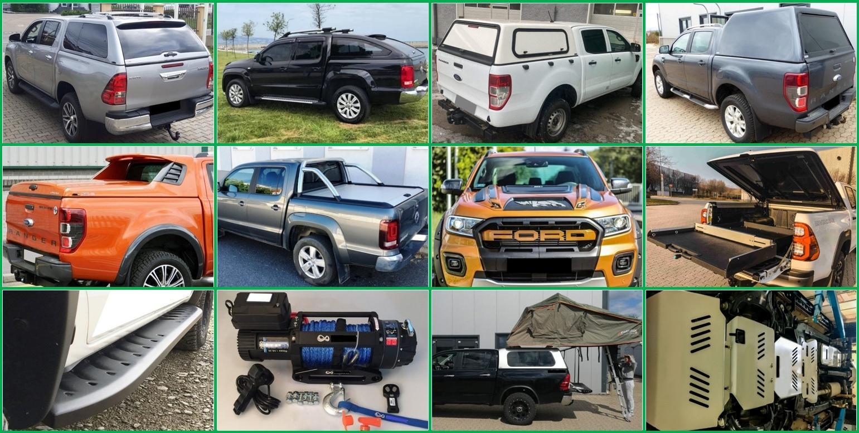 Hardtopy pick-up z kompozitního materiálu, designové fullboxy, duralové rolety, navijáky, kryty podvozku, tuningové doplňky, ochranné rámy a boční nášlapy, výsuvná celokovová plata, praktické doplňky pro práci offroad myslivost camping, střešní nosiče, obytné nástavby pick-up